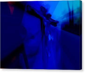 Blue Crucifixion Canvas Print by Susan  Solak
