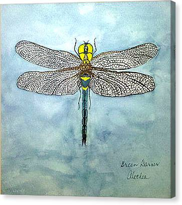 Canvas Print featuring the painting Blue Darner by Alethea McKee