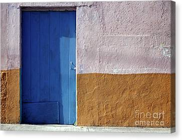 Canvas Print featuring the photograph Blue Door Cozumel Mexico by John  Mitchell
