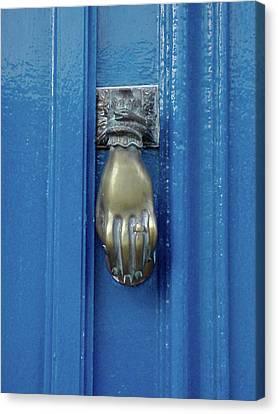 Blue Door With Brass Hand Knocker, France Canvas Print by Jennifer Steen Booher