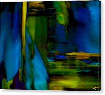 Blue Feather Reflections Canvas Print by Mathilde Vhargon
