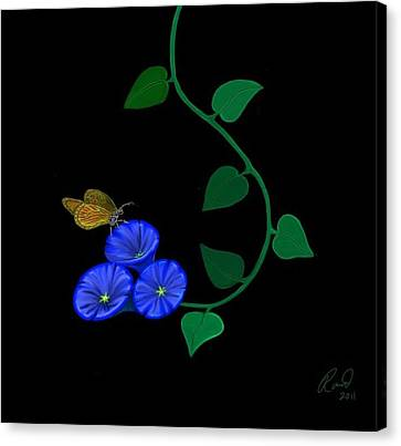 Blue Flower Butterfly Canvas Print by Rand Herron