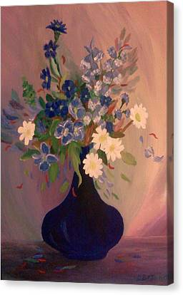 Blue Flowers 2 Canvas Print by Christy Saunders Church
