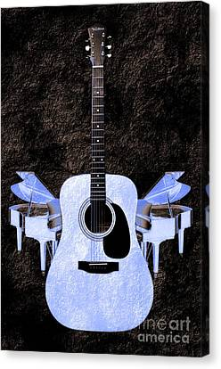 Blue Guitar Butterfly Canvas Print by Andee Design