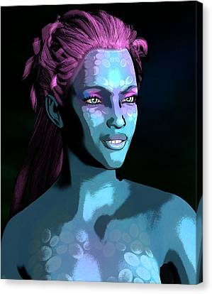 Canvas Print featuring the digital art Blue Halo by Maynard Ellis