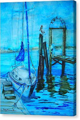 Blue Harbor Canvas Print by Nancy Brennand