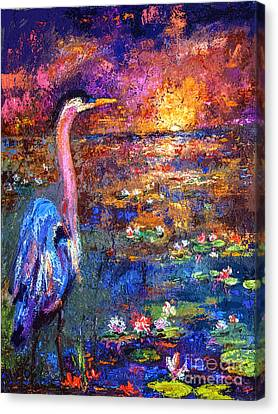 Blue Heron Sunset Canvas Print by Ginette Callaway