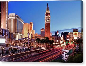 Blue Hour In Las Vegas Canvas Print by Bert Kaufmann Photography