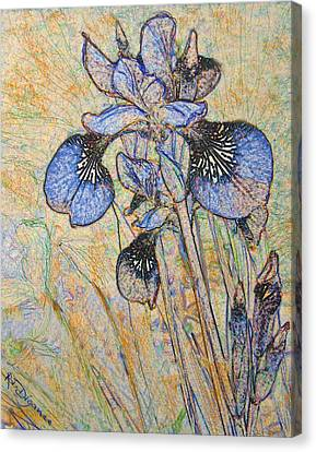 Canvas Print featuring the painting Blue Iris  by Richard James Digance