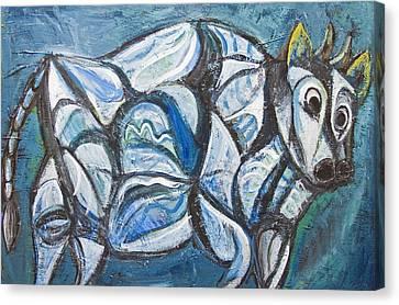 Blue Jeweled Cattle Canvas Print by Kazuya Akimoto