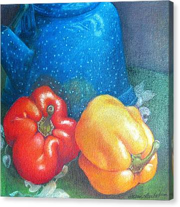 Blue Kettle With Peppers Canvas Print