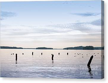 Canvas Print featuring the photograph Blue Lake Muskoka by Les Palenik