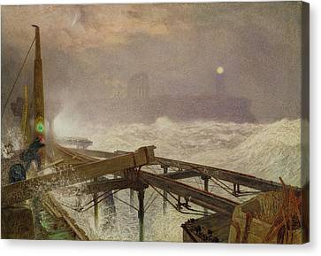Blue Lights - Teignemouth Pier Canvas Print by Alfred William Hunt