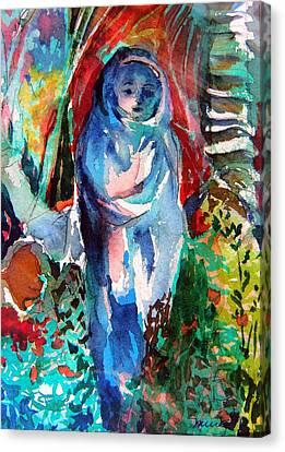 Blue Madonna Canvas Print by Mindy Newman