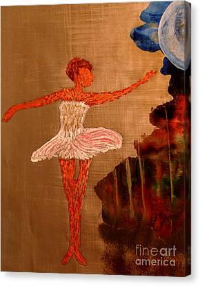 Canvas Print featuring the painting Blue Moon Balerina by Ayasha Loya