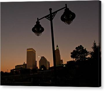 Canvas Print featuring the photograph Blue Moon Over Downtown Providence 1 by Nancy De Flon