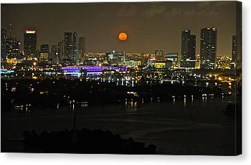 Blue Moon Over Miami Canvas Print by Ronald  Bell