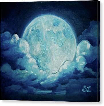 Blue Moon Canvas Print by Sarah Lonthier