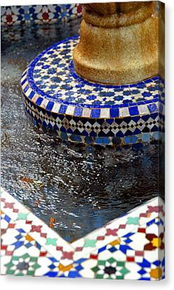 Blue Mosaic Fountain II Canvas Print