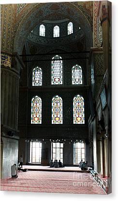 Blue Mosque Prayers Canvas Print by Leslie Leda