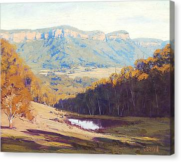 Blue Mountains Paintings Canvas Print by Graham Gercken
