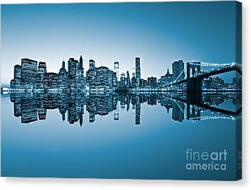 Canvas Print featuring the photograph Blue New York City by Luciano Mortula