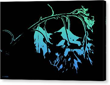 Canvas Print featuring the photograph Blue On Black by Lauren Radke