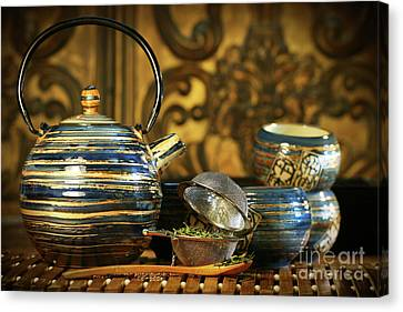 Blue Oriental Teapot With Cups  Canvas Print by Sandra Cunningham