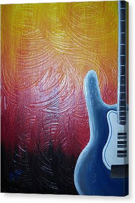 Canvas Print featuring the painting Blue Over Fire by Edwin Alverio