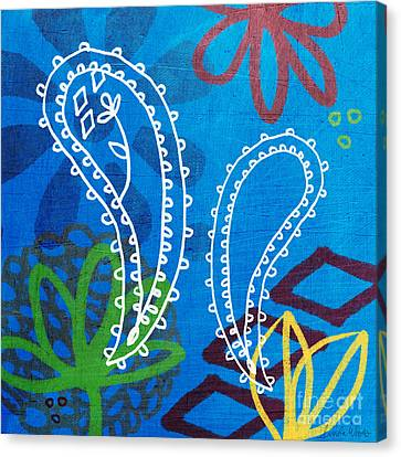 Blue Paisley Garden Canvas Print by Linda Woods