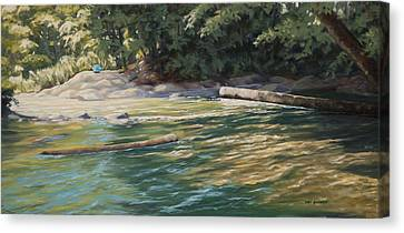 Canvas Print featuring the painting Blue Parasol At Whatcom Falls by Kurt Jacobson