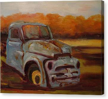 Canvas Print featuring the painting Blue Pickup by Carol Berning