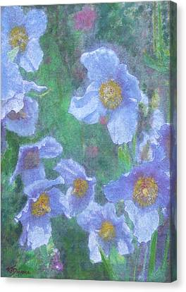 Canvas Print featuring the painting Blue Poppies by Richard James Digance