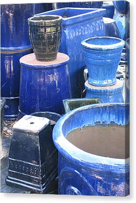 Canvas Print featuring the photograph Blue Pots by Brian Sereda