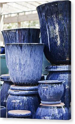 Blue Pots For Sale Canvas Print by Teresa Mucha