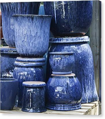 Ceramic Glazes Canvas Print - Blue Pots Squared by Teresa Mucha