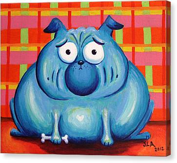 Blue Pudgy Pug Canvas Print by Jennifer Alvarez
