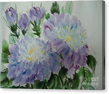Canvas Print featuring the painting Blue Purple Flower by Dongling Sun
