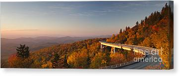 Autumn Leaf Canvas Print - Blue Ridge Parkway Linn Cove Viaduct by Dustin K Ryan
