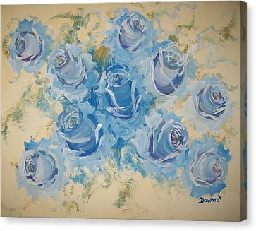 Blue Roses Abstract Canvas Print