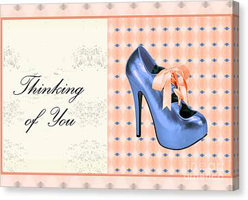 Digital Art Of High Heels Canvas Print - Blue Shoe On Pink Greeting Card Expresses Thinking Of You by Maralaina Holliday
