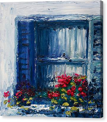 Blue Shutters Canvas Print by Yvonne Ayoub