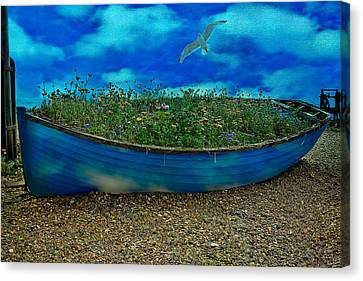Canvas Print featuring the photograph Blue Sky Boat  by Chris Lord