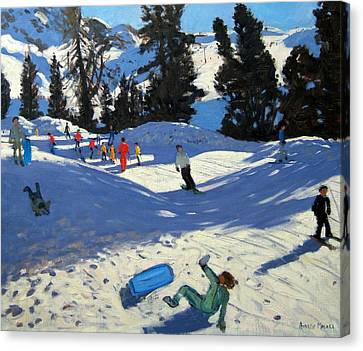 Snowboarding Canvas Print - Blue Sledge by Andrew Macara