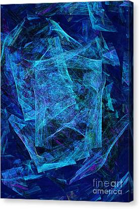 Blue Space Debris Canvas Print by Andee Design