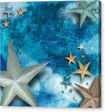 Blue Star Art Holiday Background Canvas Print by Angela Waye
