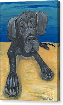 Blue The Great Dane Pup Canvas Print by Ania M Milo