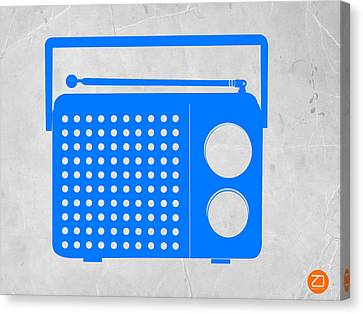 Blue Transistor Radio Canvas Print by Naxart Studio