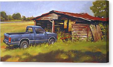 Blue Truck Canvas Print by Todd Baxter