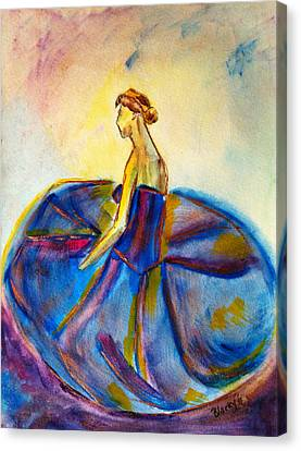 Ballet Dancers Canvas Print - Blue Tutu by Donna Blackhall